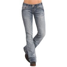 Rock & Roll Cowgirl Triangle Train Stitched Jeans - Low Rise, Bootcut (For Women) in Light Wash - Overstock