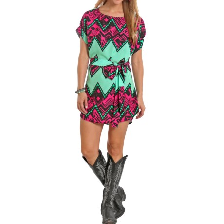 Rock and Roll Cowgirl Tribal Aztec Dress Short Sleeve (For Women)
