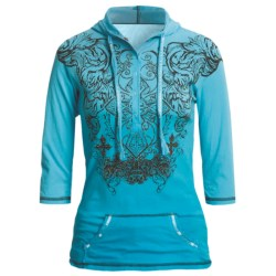 Rock & Roll Cowgirl Tribal Cross Henley Hooded Shirt - 3/4 Sleeve (For Women) in Light Turquoise