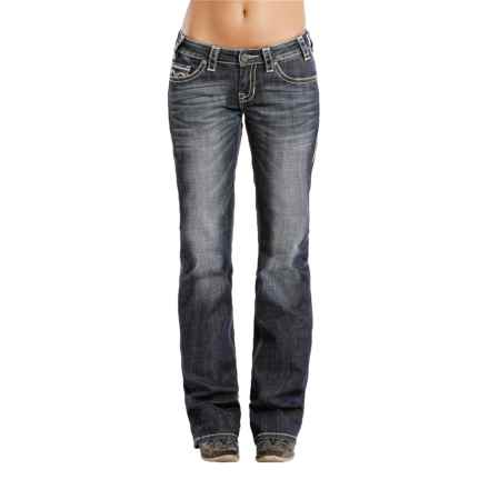 Rock & Roll Cowgirl V-Embroidery Jeans - Boyfriend Fit (For Women) in Dark Vintage - Closeouts