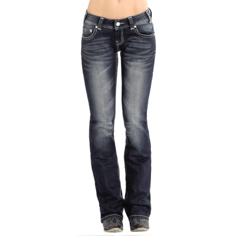 Rock and Roll Cowgirl V Embroidery Jeans Low Rise, Bootcut (For Women)