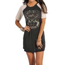 Rock & Roll Cowgirl Vintage Print Dress - Short Sleeve (For Women) in Black - Closeouts
