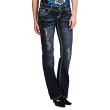 Rock & Roll Cowgirl Vintage Rhinestone Cross Jeans - Low Rise, Bootcut (For Women) in Dark Wash - Closeouts