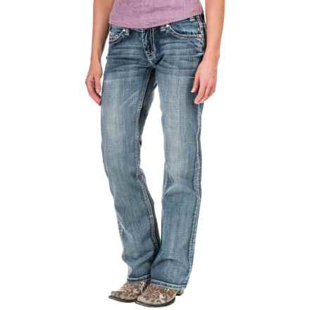 Rock & Roll Cowgirl Whiskers & Sanding Riding Jeans - Low Rise, Riding Fit, Bootcut (For Women) in Light Vintage - Closeouts