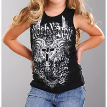 Rock & Roll Cowgirl Winged Cross Tank Top (For Girls) in Black - Closeouts