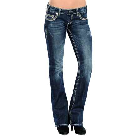 Rock & Roll Cowgirl X-Stitch Pocket Jeans - Low Rise, Bootcut (For Women) in Dark Vintage Wash - Closeouts