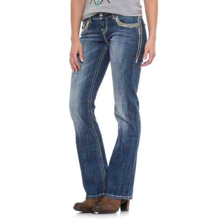 Rock & Roll Cowgirl X-Stitch Pocket Jeans - Low Rise, Bootcut (For Women) in Medium Vintage - Closeouts