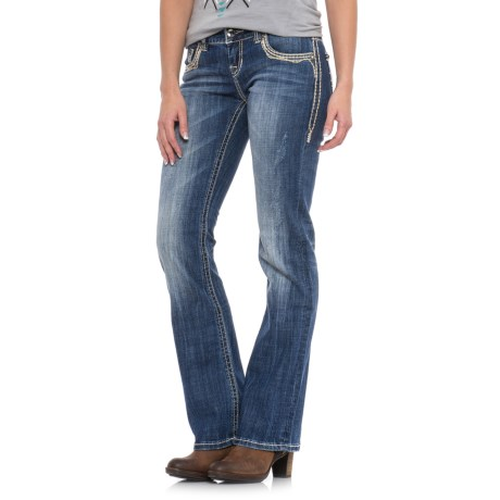 Rock & Roll Cowgirl X-Stitch Pocket Jeans - Low Rise, Bootcut (For Women)