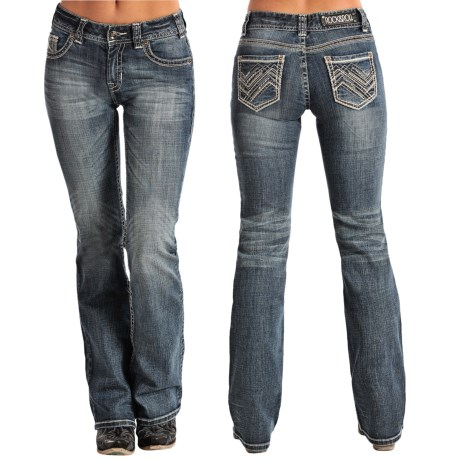 Rock & Roll Cowgirl Zigzag and Rhinestone Pocket Jeans - Bootcut (For Women) in Medium Vintage Wash
