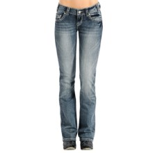 Rock & Roll Cowgirl Zigzag Crystal Jeans - Low Rise, Bootcut (For Women) in Medium Vintage Wash - Closeouts