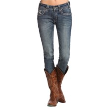 Rock & Roll Cowgirl Zigzag Detail Skinny Jeans (For Women) in Medium Vintage Wash - Closeouts
