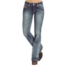 Rock & Roll Cowgirl Zigzag Embroidered Jeans - Mid Rise, Bootcut (For Women) in Light Vintage Wash - Overstock