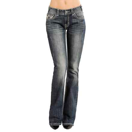 Rock & Roll Cowgirl Zigzag Jeans - Mid Rise, Bootcut (For Women) in Dark Vintage - Closeouts