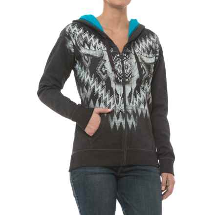 Rock & Roll Cowgirl Zip-Up Raglan Sleeve Hoodie (For Women) in Charcoal - Closeouts