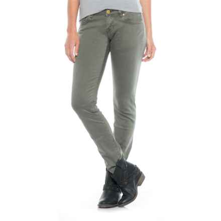 Rock & Roll Denim Applique Detail Jeans - Low Rise, Skinny Fit (For Women) in Olive - Closeouts