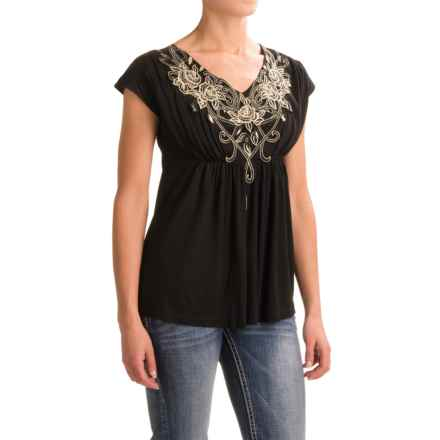 Rock & Roll Floral Embroidered Tunic Shirt - Short Sleeve (For Women) in Black - Closeouts
