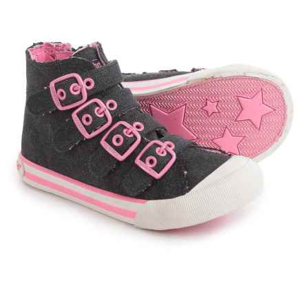 Rocket Dog High-Top Sneakers - Buckle Straps (For Little and Big Girls) in Black - Closeouts