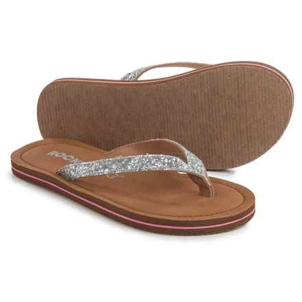 Rocket Dog Pansy Sparkle Flip-Flops (For Little and Big Girls) in Silver - Closeouts