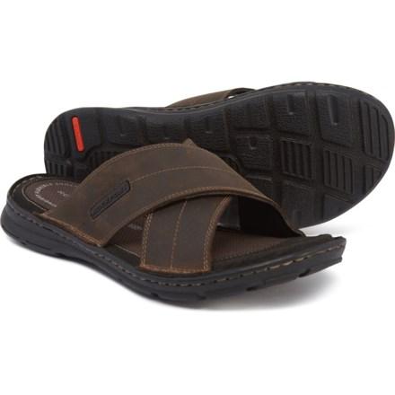 34accafcb424 Rockport Darwyn Cross Band Slide Sandals - Leather (For Men) in Brown