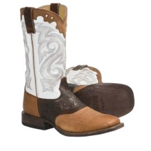 "Rocky Handsewn Leather Western Boots - 11"" (For Women) in Cognac/White - Closeouts"