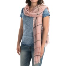 Roffe Accessories Plaid Fringed Scarf (For Women) in Pink - Closeouts