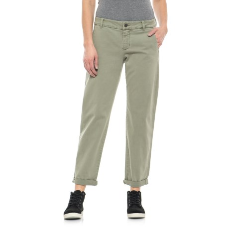 Rolled-Cuff Crop Twill Pants (For Women)