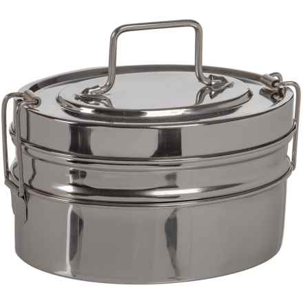 Rome 2-Tier Mini Oval Tiffin - Stainless Steel in See Photo - Closeouts