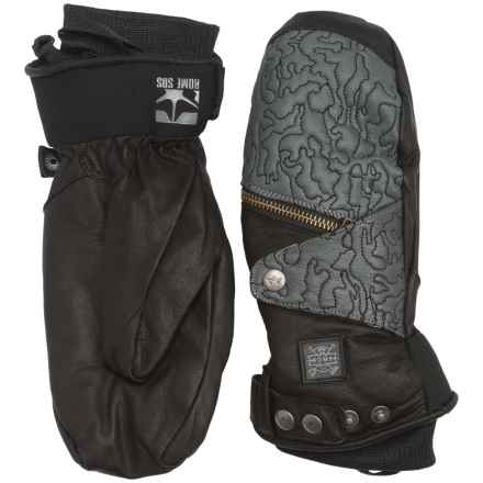 Rome Bowery Mittens - TechLeather, PrimaLoft® (For Men) in Black - Closeouts
