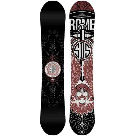 Rome Crossrocket Snowboard in Black/Burgundy W/Burgundy Eagle - Closeouts