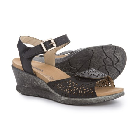 56b47c8ba Romika Nevis 05 Wedge Sandals - Leather (For Women) in Black Smooth
