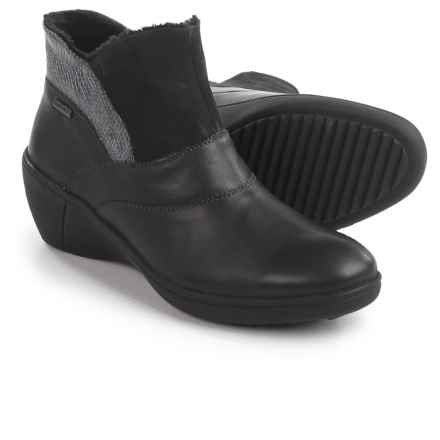 Romika Savona 01 Wedge Ankle Booties - Leather (For Women) in Black - Closeouts