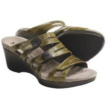 Romika Waikiki 01 Wedge Sandals - Leather (For Women) in Lime - Closeouts