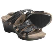 Romika Waikiki 15 Sandals - Leather, Wedge Heel (For Women) in Black - Closeouts