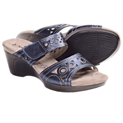 Romika Waikiki 16 Wedge Sandals - Leather (For Women) in Blue Metallic