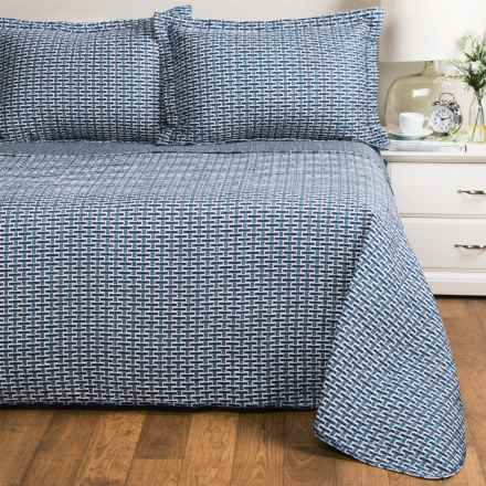 Ron Chereskin Basket-Weave Quilt Set - King, Reversible in Blue - Closeouts