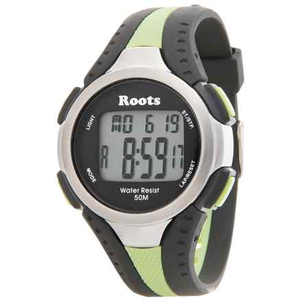 Roots Blackcomb Digital Display Quartz Chronograph Watch in Black/Lime - Closeouts