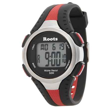 Roots Blackcomb Digital Display Quartz Chronograph Watch in Black/Red - Closeouts