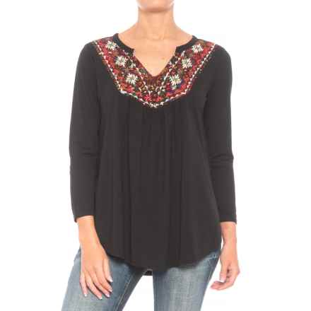 Roper 1299 Slub Jersey Peasant Top - 3/4 Sleeve (For Women) in Black - Closeouts