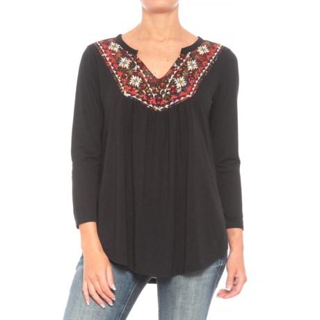 Roper 1299 Slub Jersey Peasant Top - 3/4 Sleeve (For Women) in Black