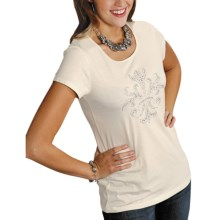 Roper Almost Heaven Shirt - Zip Back, Short Sleeve (For Women) in White - Closeouts