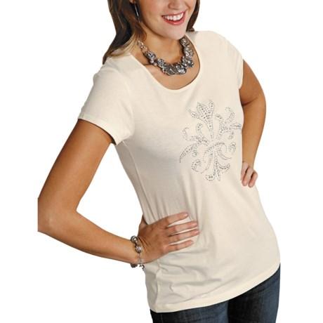 Roper Almost Heaven Shirt - Zip Back, Short Sleeve (For Women) in White