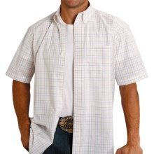 Roper Amarillo Collection Shirt - Short Sleeve (For Men and Big Men) in Blue Sky Plaid - Closeouts