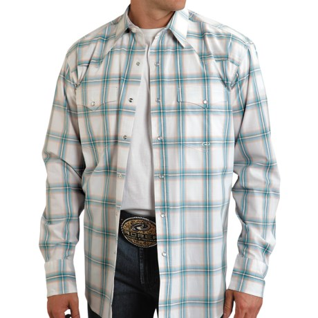 Roper Amarillo Copper Mesa Canyon Plaid Shirt - Snap Front, Long Sleeve (For Men) in Orange
