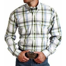 Roper Amarillo Cotton Plaid Shirt - Button Front, Long Sleeve (For Men and Big Men) in Summer, Morning Dew - Closeouts