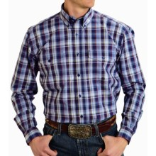 Roper Amarillo Cotton Plaid Shirt - Button Front, Long Sleeve (For Men and Big Men) in Zone 2, Purple Sapphire - Closeouts