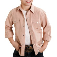 Roper Amarillo Mini-Check Shirt - Snap Front, Long Sleeve (For Boys) in Orange - Closeouts