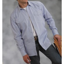 Roper Amarillo Mini-Squares Western Shirt - Long Sleeve (For Men) in Blue - Closeouts