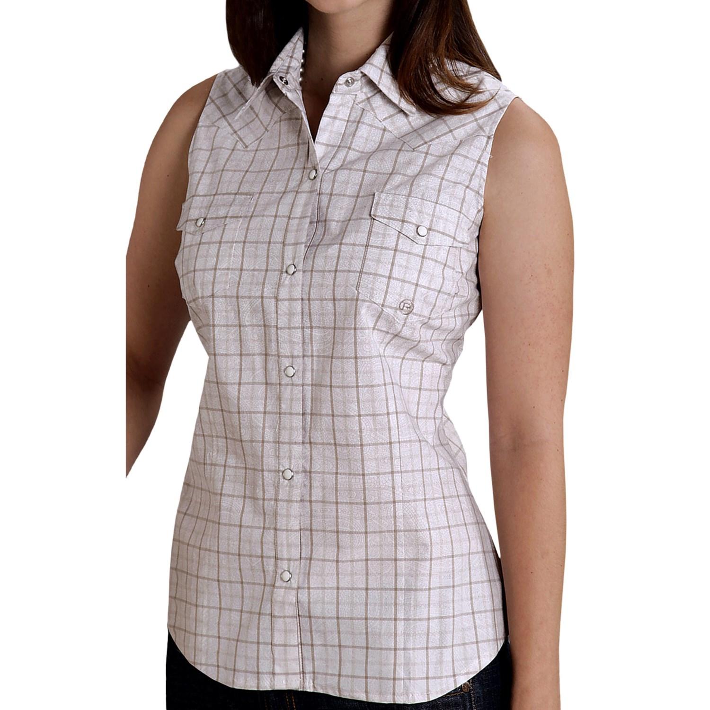 Roper amarillo paisley check shirt snap front for Ladies brown check shirt