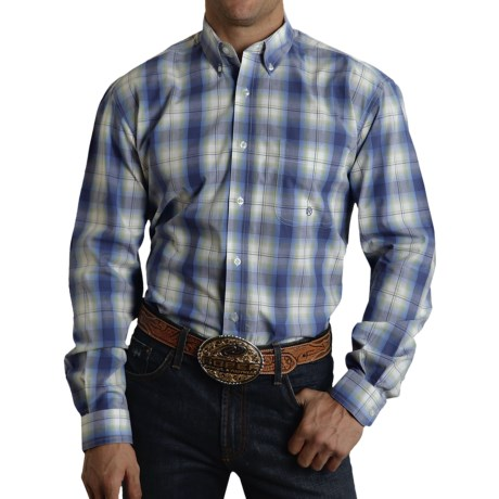 Roper Amarillo Plaid Shirt - Button Front, Yarn-Dyed Cotton, Long Sleeve (For Men) in Blue Crocket Plaid