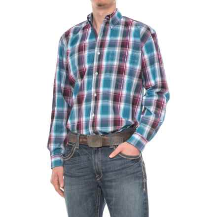 Roper Amarillo Plaid Shirt - Long Sleeve (For Men) in Blueberry Ombre - Closeouts